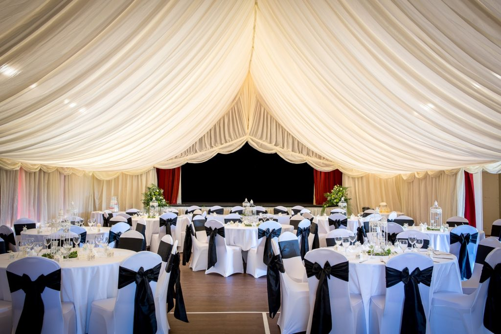 wwmcc LARGE hALL SET FOR A WEDDING WITH MARQUEE LININGS